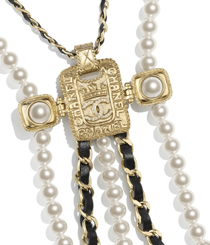 image 3 - Necklace - Metal, Glass Pearls, Calfskin, Resin & Strass - Gold, Pearly White, Black & Crystal