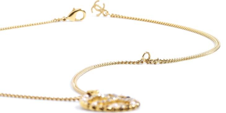 image 2 - Collier - Métal, perles de verre & strass - Doré, blanc nacré, noir & cristal