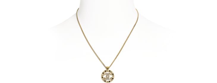 image 1 - Necklace - Metal, Glass Pearls & Strass - Gold, Pearly White, Black & Crystal