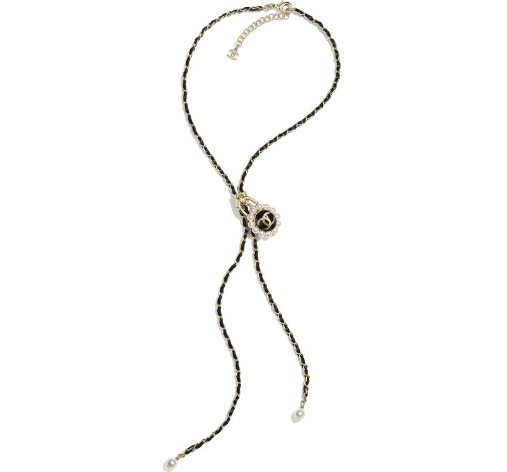 image 1 - Necklace - Metal, Glass Pearls & Calfskin - Gold, Pearly White & Black