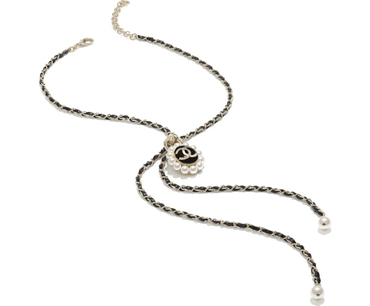 image 2 - Necklace - Metal, Glass Pearls & Calfskin - Gold, Pearly White & Black