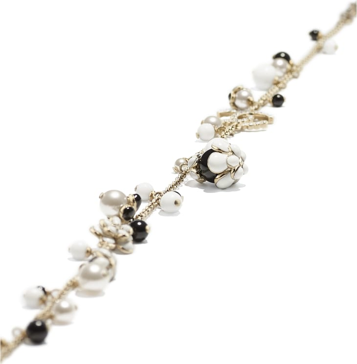 image 2 - Necklace - Metal, Glass Pearls, Strass & Resin - Gold, Pearly White, Crystal, Black & White
