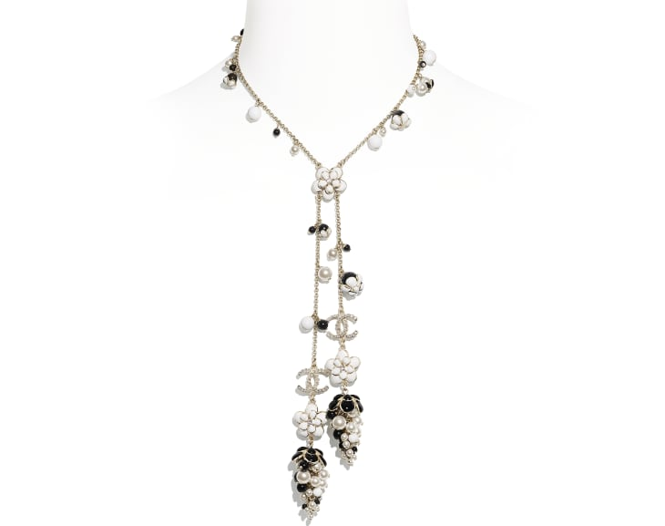 image 1 - Necklace - Metal, Glass Pearls, Strass & Resin - Gold, Pearly White, Crystal, Black & White