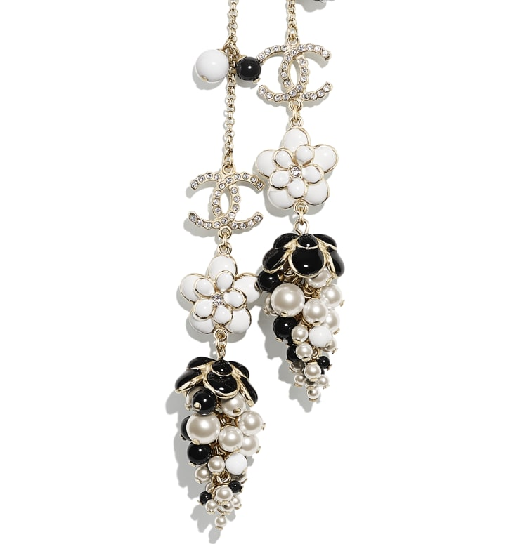 image 3 - Necklace - Metal, Glass Pearls, Strass & Resin - Gold, Pearly White, Crystal, Black & White