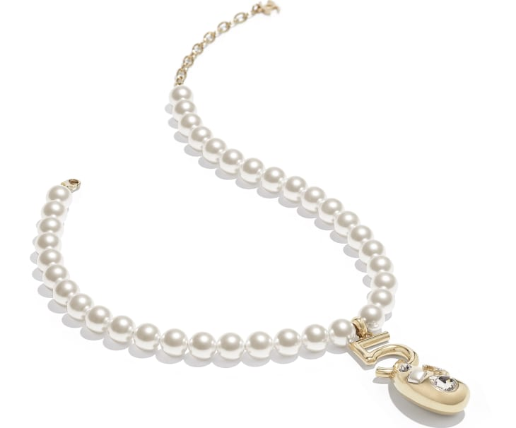 image 2 - Necklace - Metal, Glass Pearls, Glass & Strass - Gold, Pearly White & Crystal