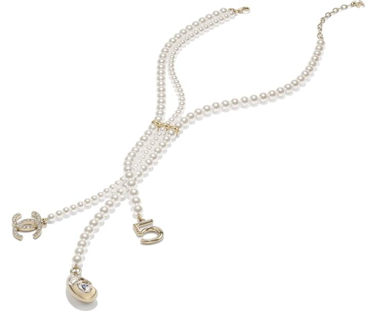 image 2 - ネックレス - メタル、コスチューム パール、グラスストーン & ストラス - ゴールド、ホワイト & クリスタル
