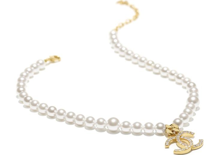 image 2 - Necklace - Metal, Glass Pearls & Diamantés - Gold, Pearly White & Crystal