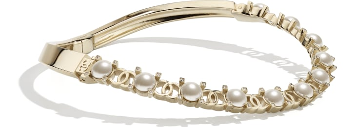 image 2 - Necklace - Metal, Glass Pearls & Strass - Gold, Pearly White & Crystal