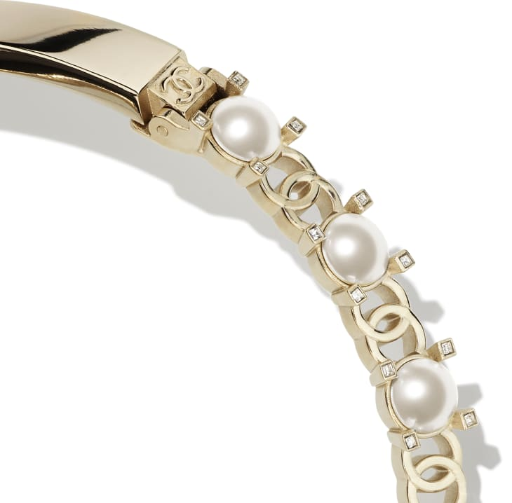 image 3 - Necklace - Metal, Glass Pearls & Strass - Gold, Pearly White & Crystal