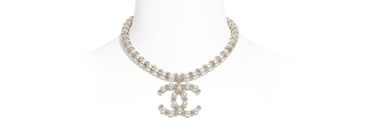 image 1 - Necklace - Metal, Glass Pearls & Diamantés - Gold, Pearly White & Crystal