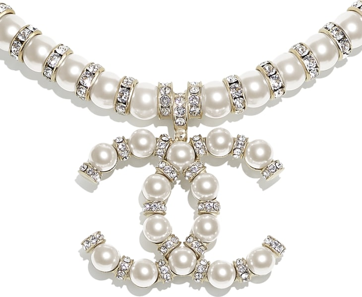 image 3 - Necklace - Metal, Glass Pearls & Diamantés - Gold, Pearly White & Crystal