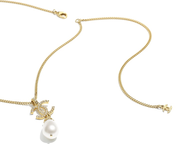 image 2 - Necklace - Metal, Imitation Pearls & Diamanté - Gold, Pearly White & Crystal