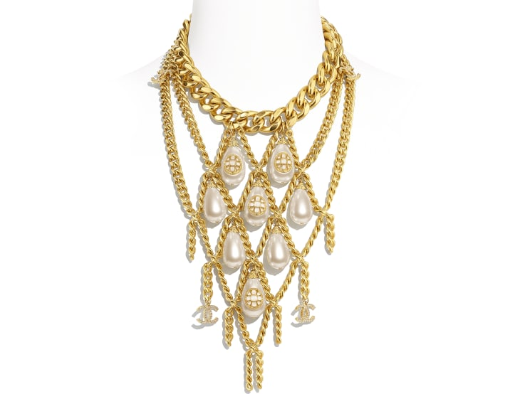 image 1 - Necklace - Metal, imitation pearls, diamanté  & resin - Gold, Pearly White & Crystal