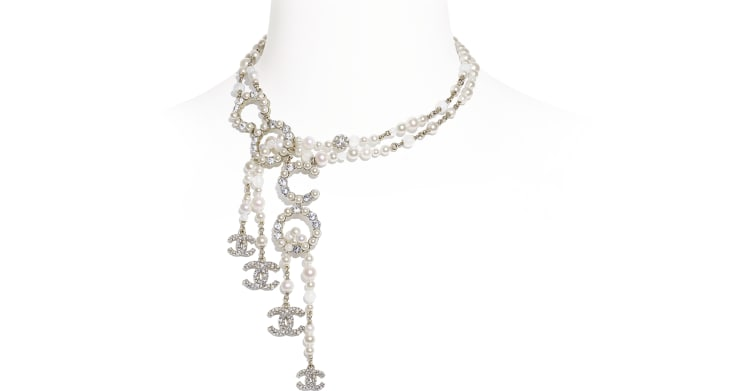 image 1 - Necklace - Metal, Natural Stones, Cultured Freshwater Pearls, Glass Pearls & Diamanté  - Gold, Pearly White & Crystal