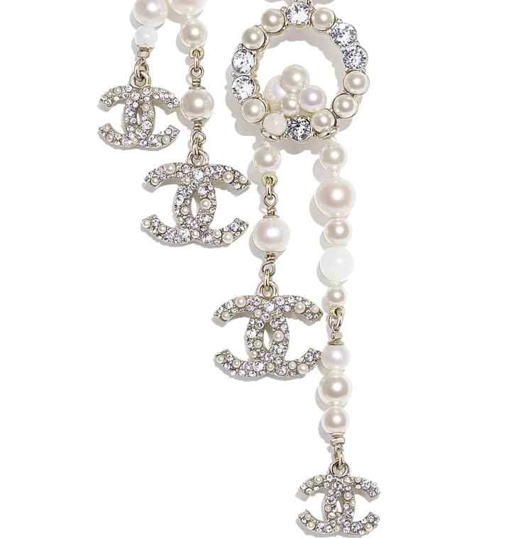 image 3 - Necklace - Metal, Natural Stones, Cultured Freshwater Pearls, Glass Pearls & Diamanté  - Gold, Pearly White & Crystal