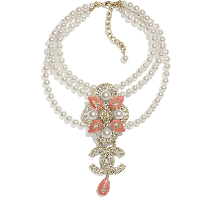 image 1 - Necklace - Metal, Glass Pearls & Strass - Gold, Pearly White, Crystal & Orange