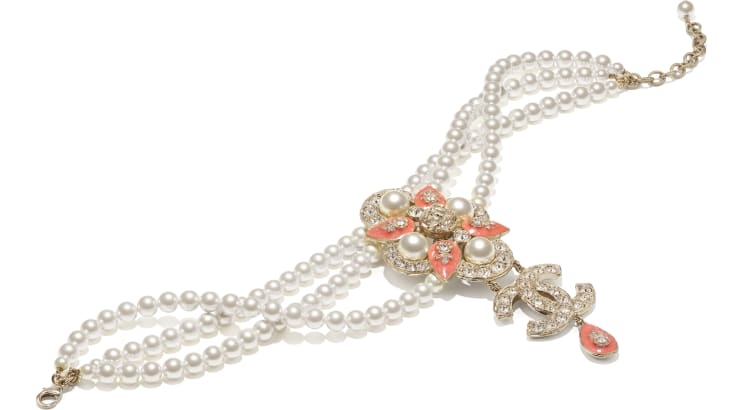 image 2 - Necklace - Metal, Glass Pearls & Strass - Gold, Pearly White, Crystal & Orange