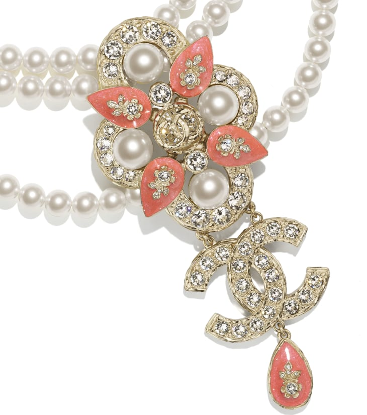 image 3 - Necklace - Metal, Glass Pearls & Strass - Gold, Pearly White, Crystal & Orange
