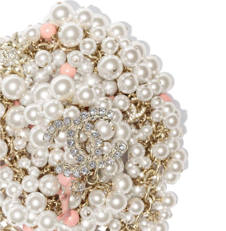 image 2 - ネックレス - メタル、コスチューム パール & ストラス - ゴールド、ホワイト、クリスタル & ピンク