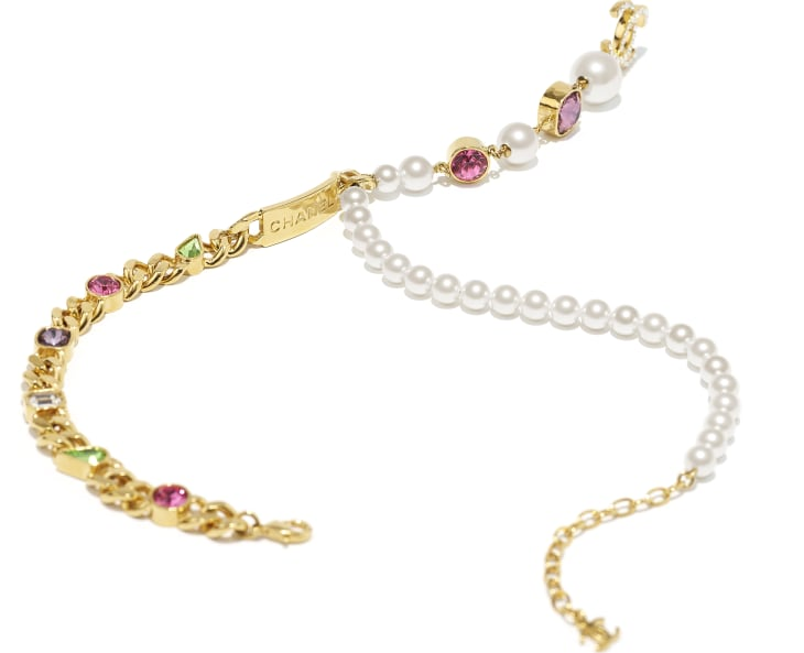 image 2 - Necklace - Metal, Glass Pearls & Strass - Gold, Pearly White, Crystal, Purple & Green