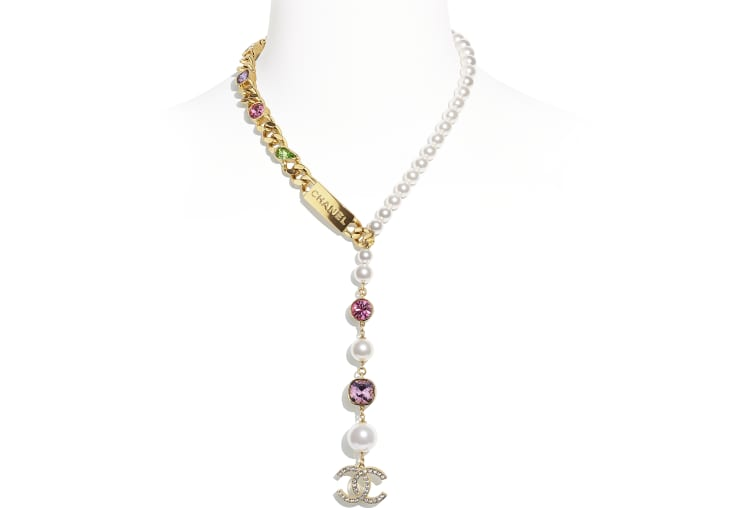 image 1 - Necklace - Metal, Glass Pearls & Strass - Gold, Pearly White, Crystal, Purple & Green