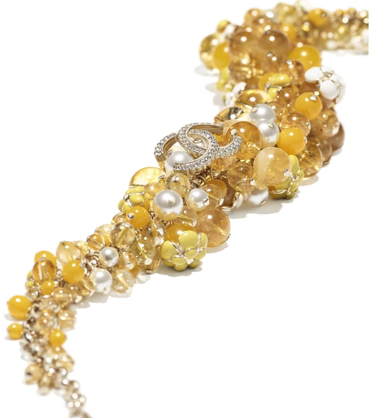image 2 - Necklace - Metal, Natural Stones, Glass Pearls, Strass & Resin - Gold, Pearly White, Crystal & Yellow