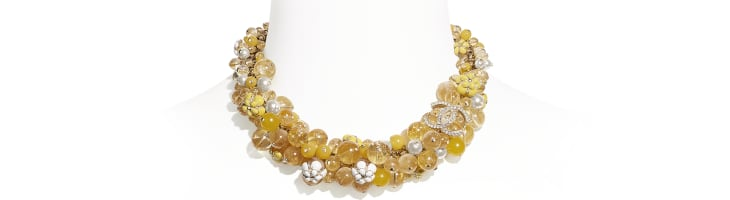 image 1 - Necklace - Metal, Natural Stones, Glass Pearls, Strass & Resin - Gold, Pearly White, Crystal & Yellow