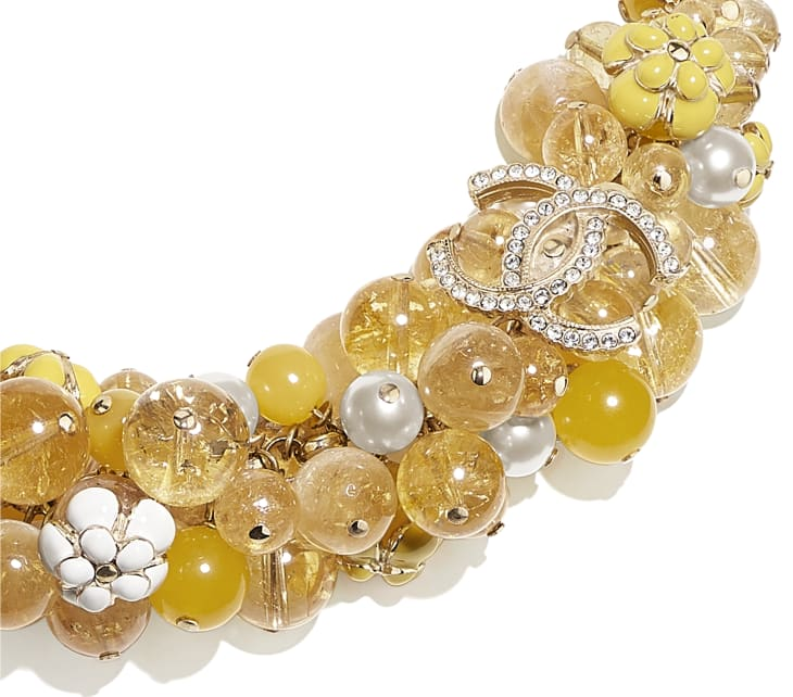 image 3 - Necklace - Metal, Natural Stones, Glass Pearls, Strass & Resin - Gold, Pearly White, Crystal & Yellow