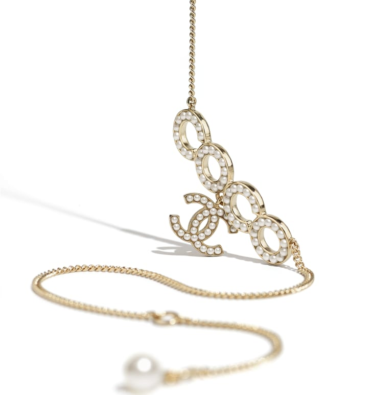 image 2 - Necklace - Metal & Glass Pearls - Gold & Pearly White
