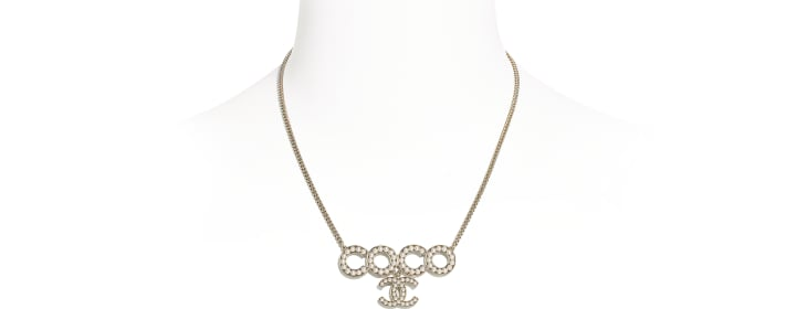 image 1 - Necklace - Metal & Glass Pearls - Gold & Pearly White
