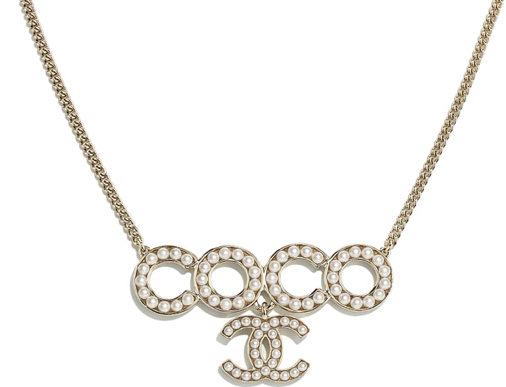 image 3 - Necklace - Metal & Glass Pearls - Gold & Pearly White