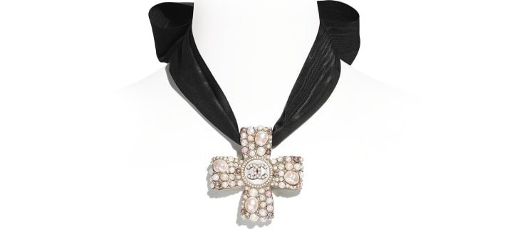 image 1 - Necklace - Metal, Cultured Freshwater Pearls, Glass Pearls, Imitation Pearls, Strass & Silk - Gold, Pearly White, Pink, Crystal & Black