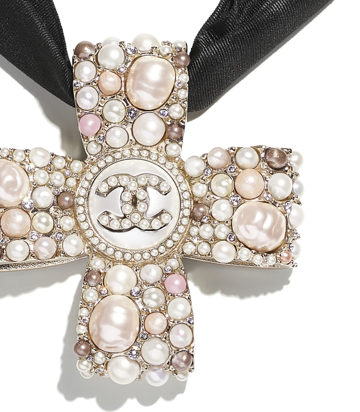 image 3 - Necklace - Metal, Cultured Freshwater Pearls, Glass Pearls, Imitation Pearls, Diamante & Silk - Gold, Pearly White, Pink, Crystal & Black