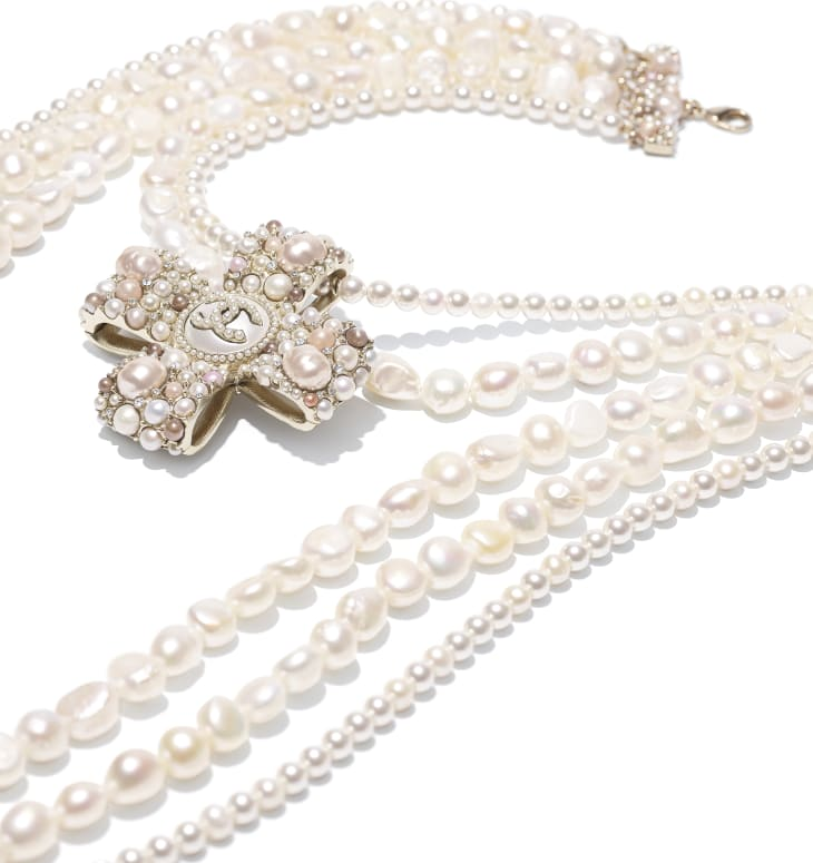 image 2 - Necklace - Metal, Cultured Fresh Water Pearls, Glass Pearls, Imitation Pearls & Diamanté - Gold, Pearly White, Pink & Crystal