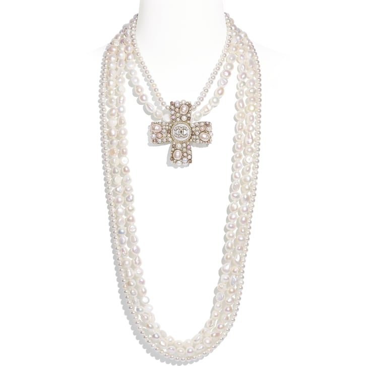 image 1 - Necklace - Metal, Cultured Fresh Water Pearls, Glass Pearls, Imitation Pearls & Diamanté - Gold, Pearly White, Pink & Crystal