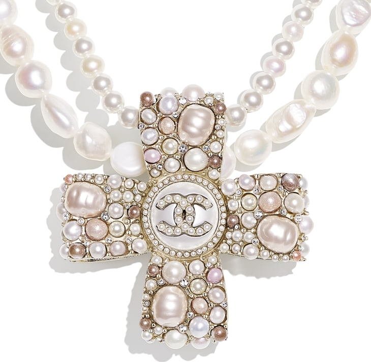 image 3 - Necklace - Metal, Cultured Fresh Water Pearls, Glass Pearls, Imitation Pearls & Diamanté - Gold, Pearly White, Pink & Crystal