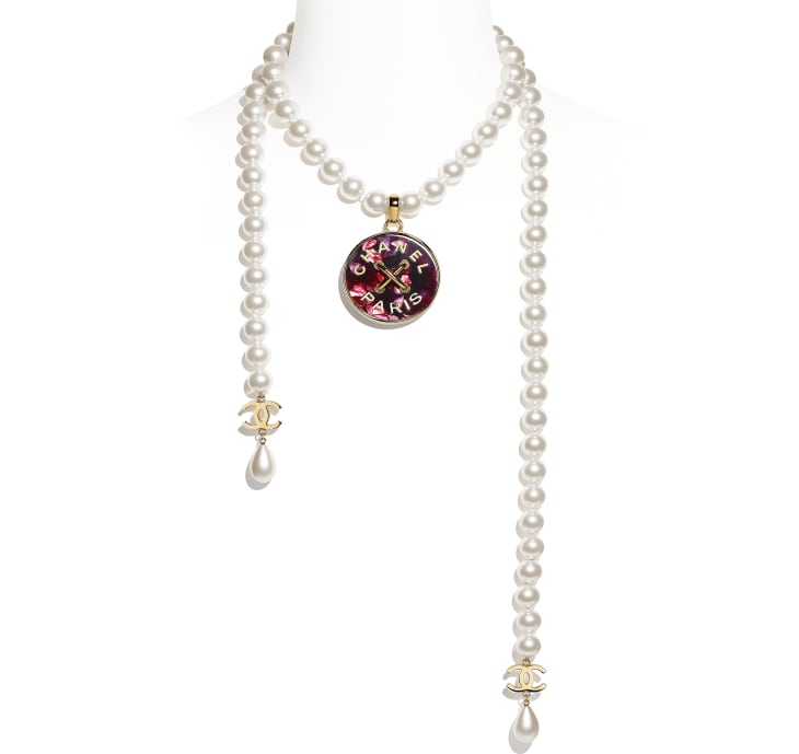 image 1 - Necklace - Metal, Glass Pearls & Resin - Gold, Pearly White & Pink