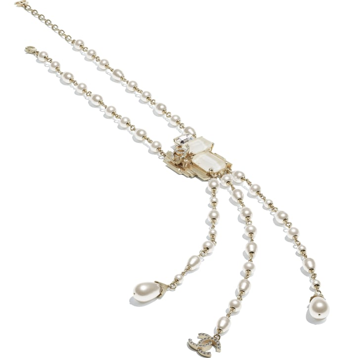 image 2 - Necklace - Metal, Glass Pearls, Imitation Pearls & Strass - Gold, Pearly White, White & Crystal