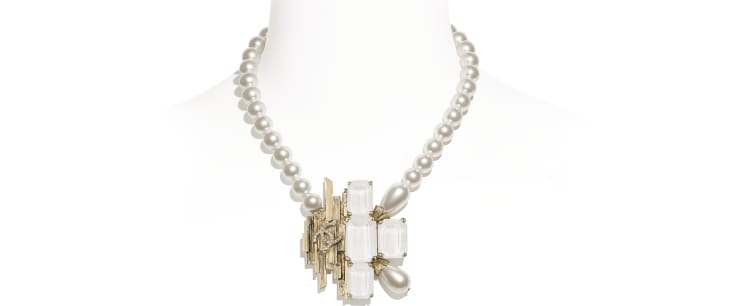 image 1 - Necklace - Metal, Glass Pearls, Imitation Pearls & Strass - Gold, Pearly White, White & Crystal