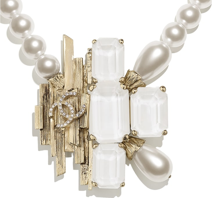 image 3 - Necklace - Metal, Glass Pearls, Imitation Pearls & Strass - Gold, Pearly White, White & Crystal