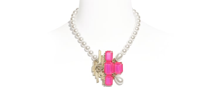 image 1 - Necklace - Metal, Glass Pearls, Imitation Pearls & Strass - Gold, Pink & Pearly White