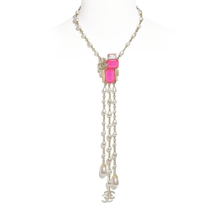 image 1 - ネックレス - メタル、コスチューム パール & ストラス - ゴールド、ホワイト、ピンク & クリスタル
