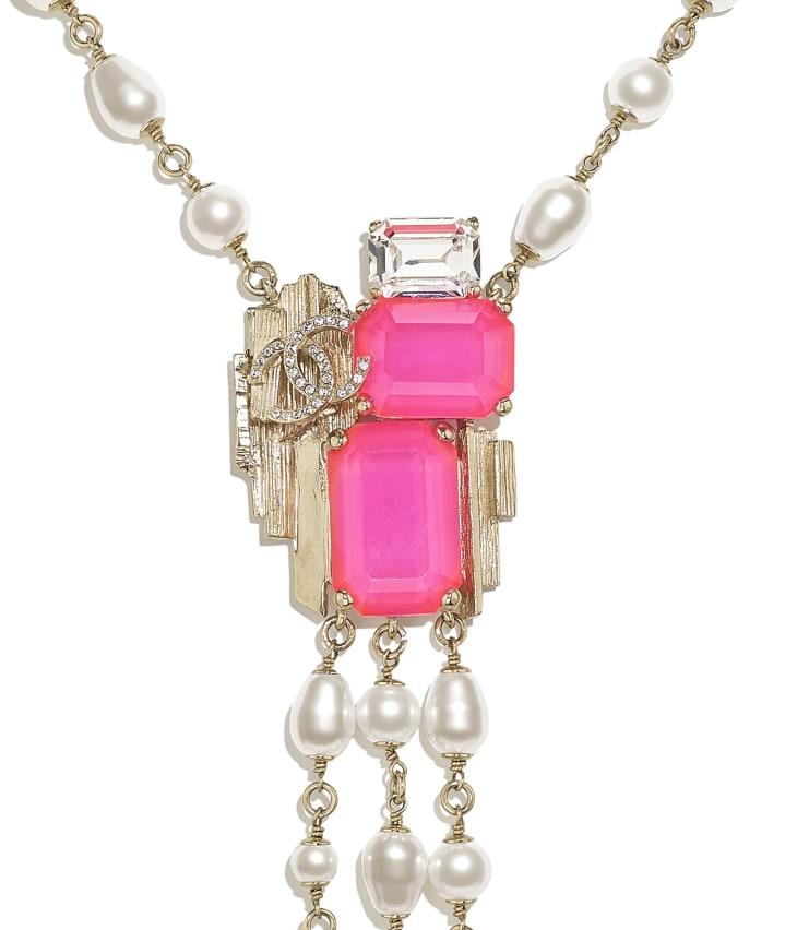 image 3 - ネックレス - メタル、コスチューム パール & ストラス - ゴールド、ホワイト、ピンク & クリスタル