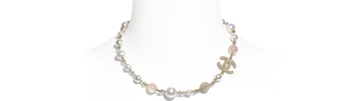 image 1 - Necklace - Metal, Glass Pearls & Diamantés - Gold, Pink & Pearly White