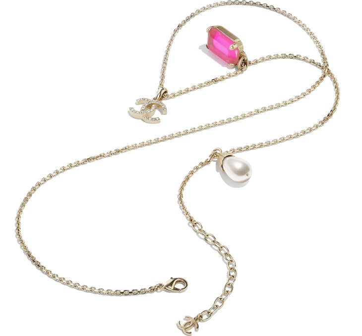 image 2 - Necklace - Metal, Imitation Pearls & Strass - Gold, Pink & Pearly White