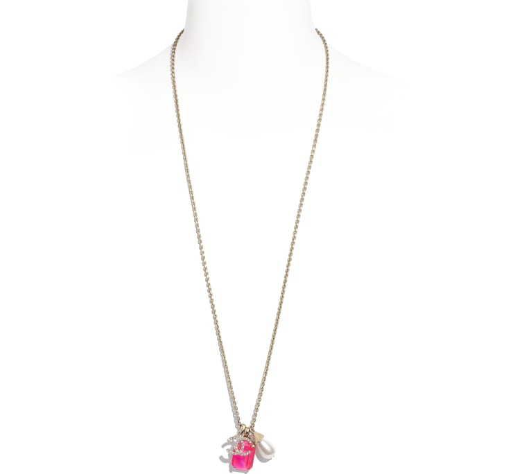 image 1 - Necklace - Metal, Imitation Pearls & Strass - Gold, Pink & Pearly White