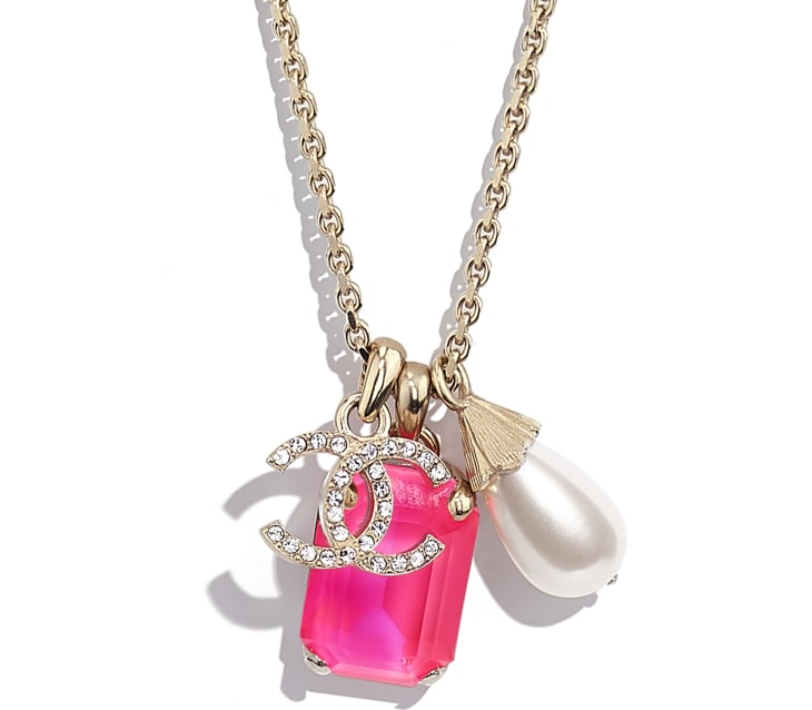 image 3 - Necklace - Metal, Imitation Pearls & Strass - Gold, Pink & Pearly White