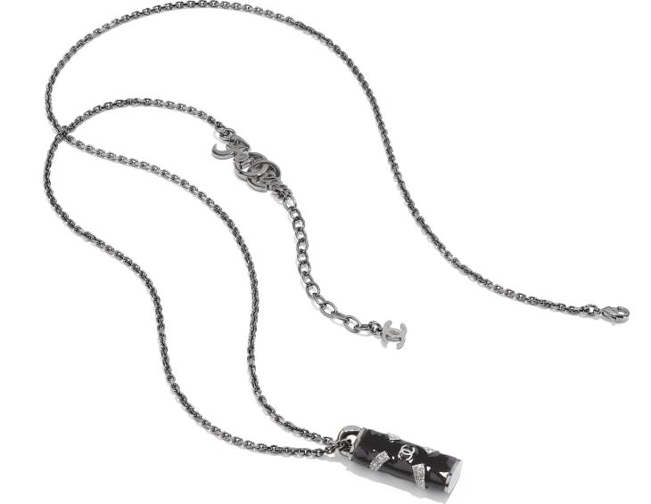 image 2 - ネックレス - メタル & ストラス - ルテニウム、ブラック & クリスタル