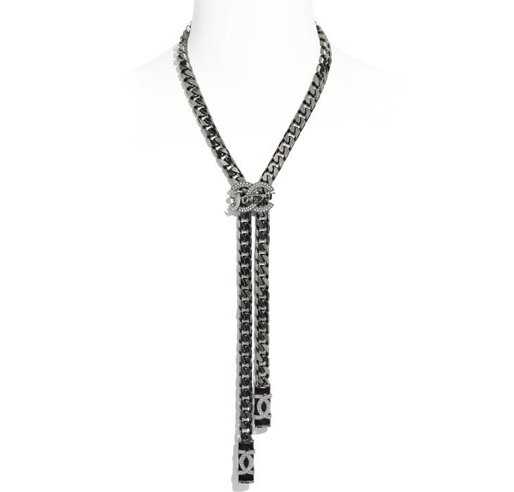 image 1 - Necklace - Metal & Strass - Ruthenium, Black & Crystal