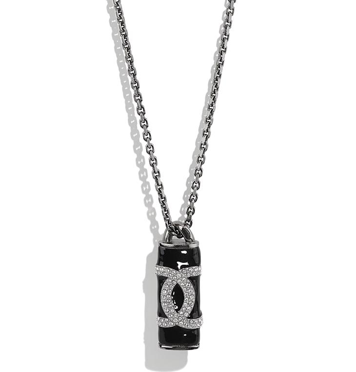 image 3 - ネックレス - メタル & ストラス - ルテニウム、ブラック & クリスタル
